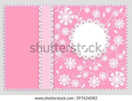 pink greeting card with ribbon, lace, place for your text on flower  background, vector illustration - stock vector
