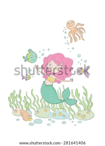 Pink Haired Mermaid Swimming In the sea
