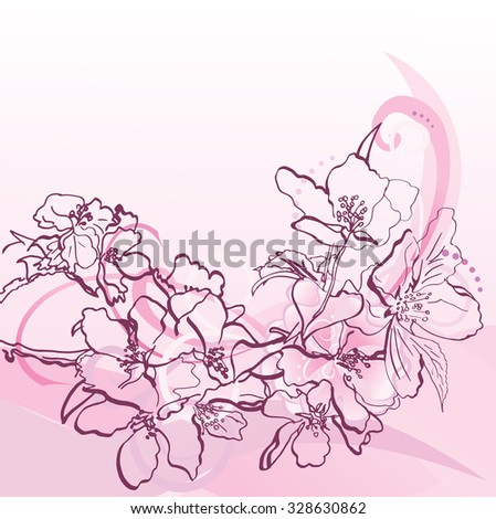pink hand drawn flowers and decorative curves - stock vector