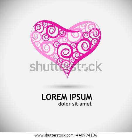 pink heart logo. Vector - stock vector
