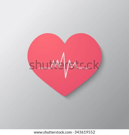 Pink heart with cardiogram icon, modern design - stock vector