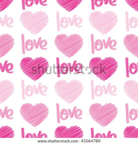 "Pink hearts and the word ""love"" sketched on a seamless tile - stock vector"