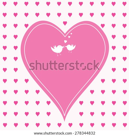 pink hearts with one large heart  in the middle - stock vector