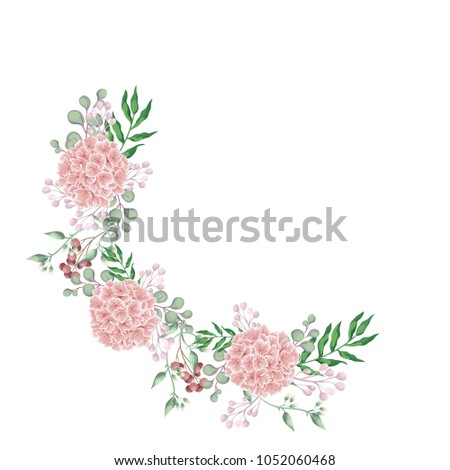 Pink Hydrangea Flower Half Wreath Floral Border With Eucalyptus Dry Flowers Spring Berry