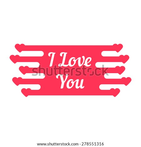 pink i love you melted sign. concept of declaration of love. isolated on white background. flat style trendy modern logotype design vector illustration - stock vector