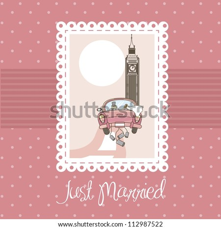 pink just married card, background. vector illustration - stock vector