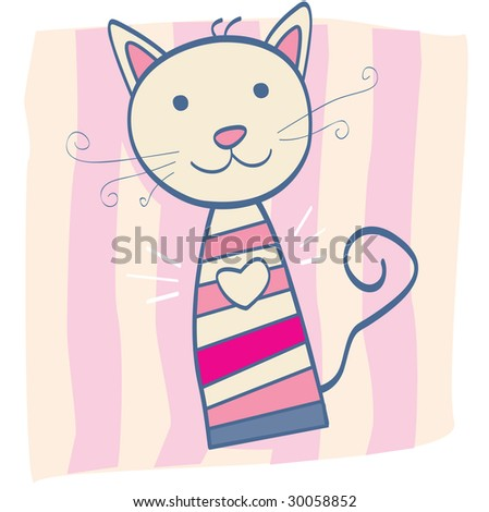 Pink kitten. Stripped small cute baby kitten. Vector Illustration. - stock vector