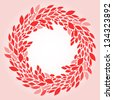 Pink leaves elegant wreath background, vector - stock vector