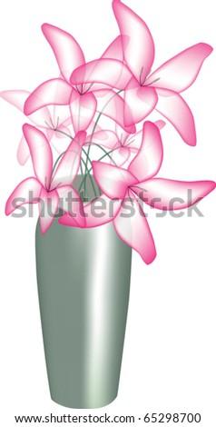 Pink lilies in vase - stock vector