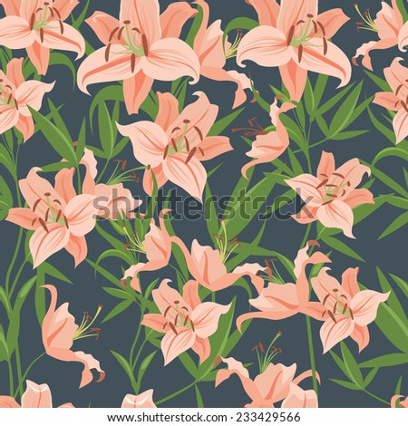 Pink lily seamless pattern - stock vector