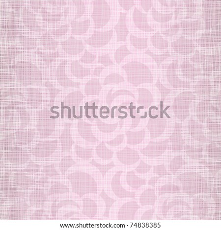 Pink linen fabric with wavy openwork drawing - stock vector