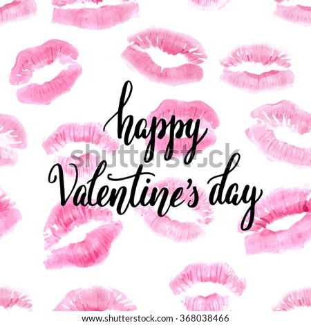 Pink lipstick print seamless background with hand lettering happy Valentine's day, on white background. Vector illustration. Can be used as repeating pattern. - stock vector