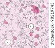 Pink little flower seamless vector pattern - stock vector