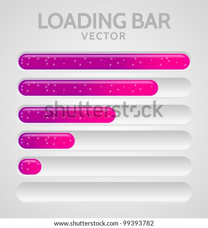Pink Loading Bars set with shine - stock vector
