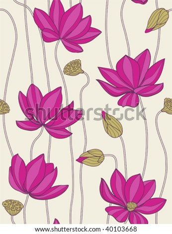 pink lotus -floral  seamless pattern - stock vector