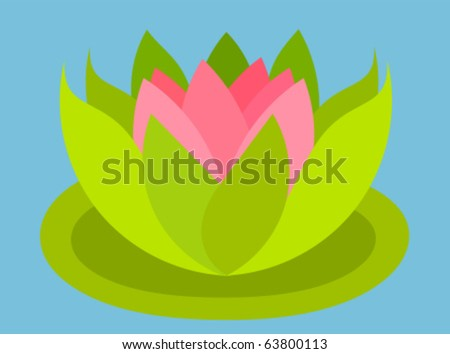Pink lotus flower floating on water - stock vector