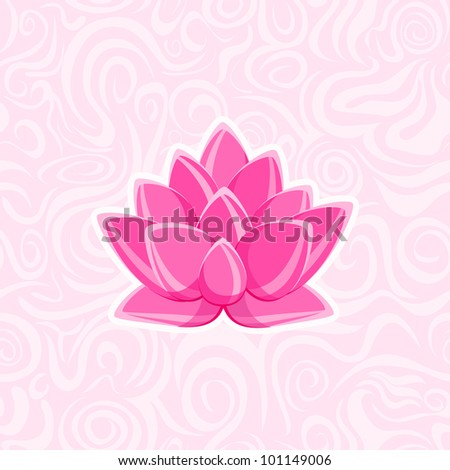 Pink Lotus Flower on Abstract Background. Vector Card Image - stock vector