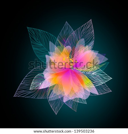 Pink magic flower on a black background - stock vector