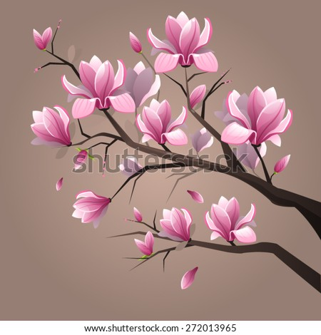 Pink magnolia flowers stock vector hd royalty free 272013965 pink magnolia flowers mightylinksfo