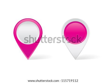 Pink map pins - stock vector