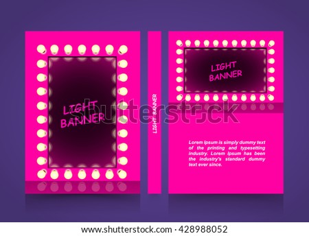 Pink mirror with lamps, Light fashion banner, Retro looking presentation design element square frame glowing with lamps, A4 size paper, Vector illustration - stock vector
