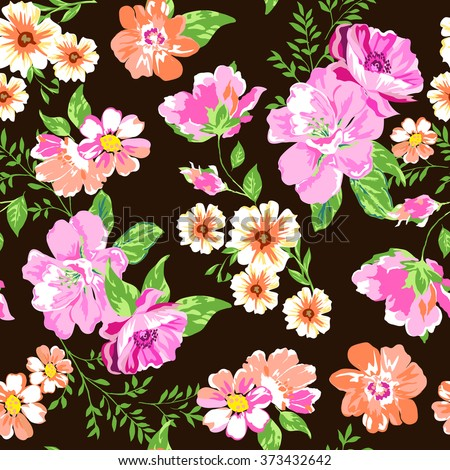 pink mix floral ~ seamless background - stock vector