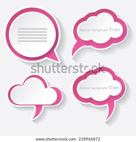 pink modern paper banners set / can be used for infographics / numbered banners / horizontal cutout lines / graphic or website layout vector - stock vector
