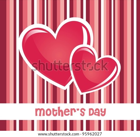 pink mothers day card with hearts and stripes. vector illustration