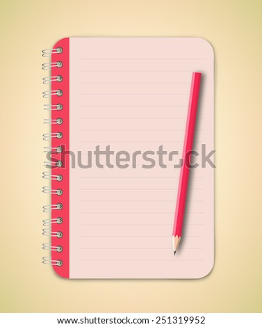 Pink Notebook and pencil vector - stock vector