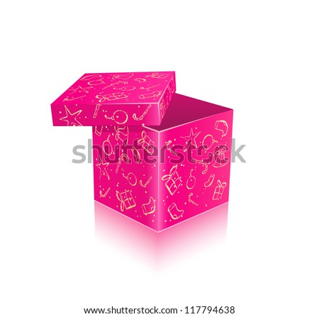 Pink Open Gift Box for New Year and christmas
