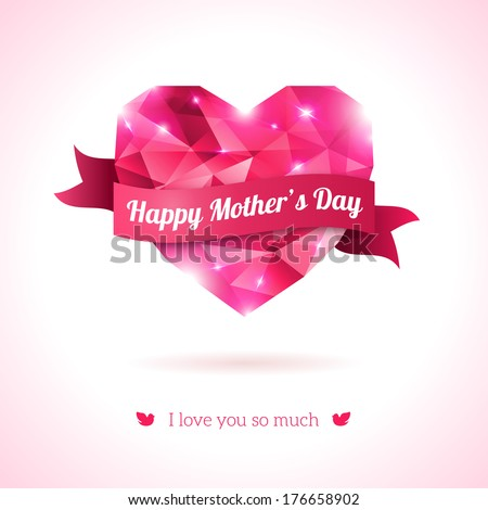 Pink origami heart on white backdrop with ribbon. Vector Illustration. Abstract polygonal heart. Love symbol. Lights and pink sparkles. Low-poly colorful style. Happy Mother day. - stock vector