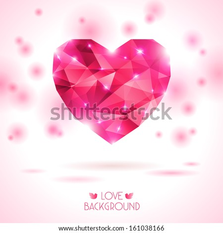 Pink origami heart on white backdrop with shadow. Vector Illustration. Abstract polygonal heart. Love symbol. Lights and pink sparkles. Low-poly colorful style. Romantic background for Valentines day. - stock vector