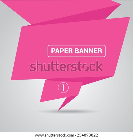 pink origami paper speech bubble or web banner .vector illustration