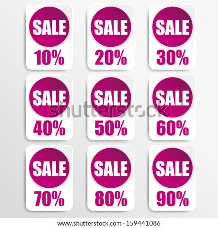 pink paper and white paper discount labels