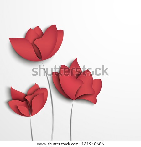 Pink paper flowers on white background - stock vector