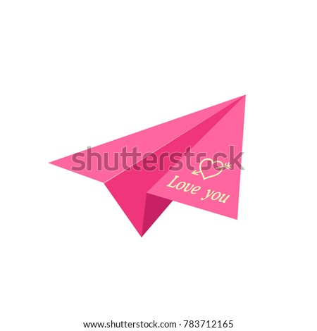 Pink Paper Plane Love Letter Origami You Valentines Day Greeting Card