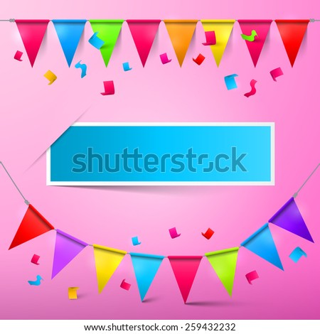 Pink Party Card - Bunting Confetti and Flags with Ribbons