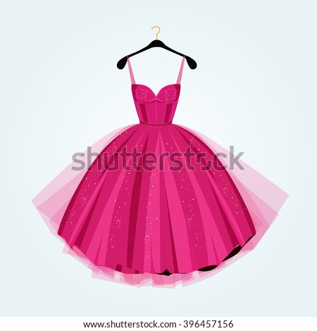 Pink party dress.Prom dress.Vector illustration