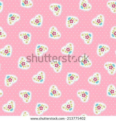 Pink pattern with cute hearts - stock vector