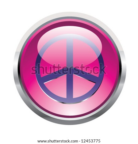 Pink peace button - stock vector