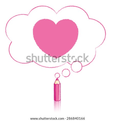 Pink Pencil with Reflection Drawing Heart Icon in Fluffy Cloud Shaped Think Bubble on White Background - stock vector