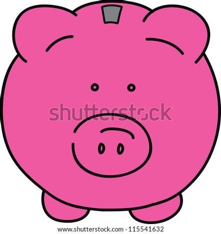 Pink pig vector illustration - stock vector