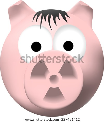 Pink pig with radiation symbol on nose - stock vector