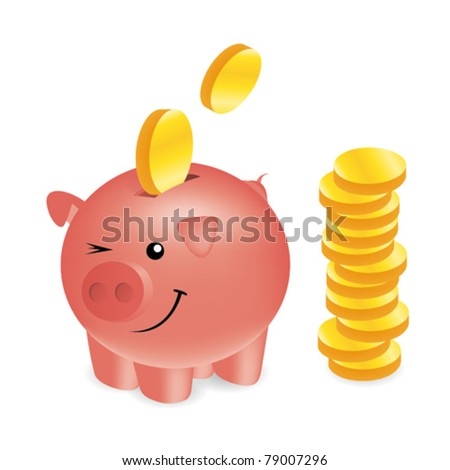 Pink piggy bank illustration - stock vector
