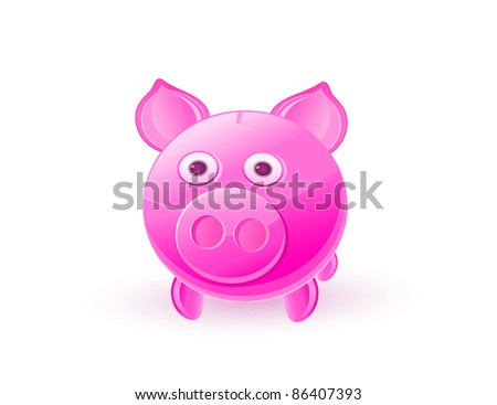 Pink Piggy Bank Isolated on White Background. Vector Illustration