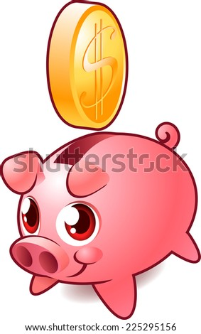 Pink Piggy bank Savings vector illustration. - stock vector