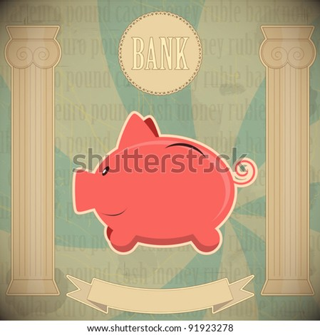 Pink piggy bank - vintage card - vector illustration - stock vector