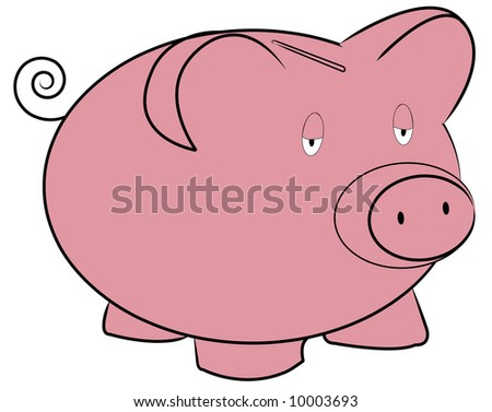 pink piggy bank with tired expression - vector