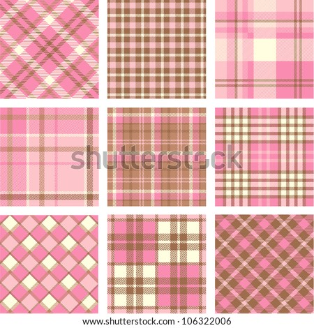 Pink plaid patterns set