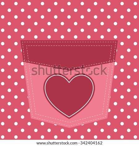 pink pocket with heart - stock vector